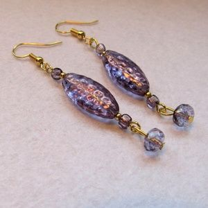 Gorgeous Pair Carnival Fused Glass Earrings